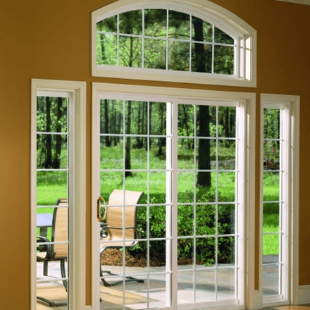 Encompass by Pella Sliding Patio Door traditional grilles sighlights and arch head